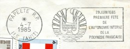 Flamme à Droite - Autonomie Interne - Papeete RP Du 4 Juillet 1985 - R 2039 - French Polynesia