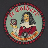 Etiquette De  Fromage Camembert  45 %  -   Le Colbert   -   Fabriqué En Maine Et Loire - Quesos