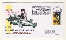 Saint Exupery. Commemorativo Centenario Nascita 24.6.2000 Busta Numerata (26 Su 100) FDC (fiamma Aéroport Lyon Saint Exu - 1960-.... Brieven & Documenten