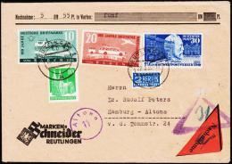 1950. 100 Jahre Deutsche Briefmarken 10 + 20 Pf. + 30 Pf. UPU. REUTLINGEN 22.3.50 Nachn... (Michel: 54-55) - JF181515 - Französische Zone