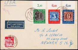 1949. 100 Jahre Deutsche Briefmarken AUGSBURG 14.12.49 To NEWARK, NY, USA.  (Michel: 113 - 115) - JF181494 - BRD