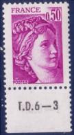 Sabine De Gandon : 0,50 Violet (n°1969) Avec Numéro De Presse TD6-3 - 1977-81 Sabine De Gandon
