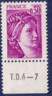 Sabine De Gandon : 0,50 Violet (n°1969) Avec Numéro De Presse TD6-7 - 1977-81 Sabine De Gandon