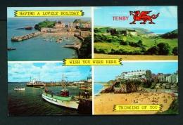 WALES  -  Tenby  Multi View  Unused Postcard As Scan - Pembrokeshire