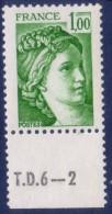 Sabine De Gandon : 1,00 Vert (n°1973) Avec Numéro De Presse TD6-2 - 1977-81 Sabine De Gandon