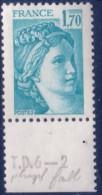 Sabine De Gandon : 1,70 Bleu Clair (n°1976) Avec Numéro De Presse TD6-2 Phosphore Faible - 1977-81 Sabine De Gandon