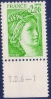 Sabine De Gandon : 2,00 Vert Jaune (n°1977) Avec Numéro De Presse TD6-1 - 1977-81 Sabine De Gandon