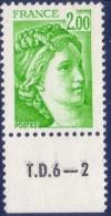 Sabine De Gandon : 2,00 Vert Jaune (n°1977) Avec Numéro De Presse TD6-2 - 1977-81 Sabine De Gandon