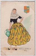 Lja.013 - Carte Brodée - Mallorca - Blason, Jeune Fille à La Cruche - ESPERON - Brodées