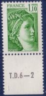 Sabine De Gandon : 1,10 Vert (n°2058) Avec Numéro De Presse TD6-2 - 1977-81 Sabine De Gandon