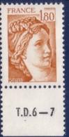 Sabine De Gandon : 1,80 Ocre Orangé (n°2061) Avec Numéro De Presse TD6-7 - 1977-81 Sabine De Gandon