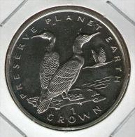 GIBRALTAR *** 1 Crown / Corona  1996 ***  Preserve Planet Earth - Shag Birds - Cu-Ni - 38.8 Mm - KM# 386 - Gibraltar