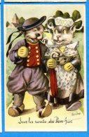 F347, Chat, Cat, Katze, Art-Chap, 6, Non Circulée - Animali Abbigliati