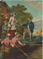 Grand Chromo/Anglais Jeune Femme Montant Dans Un Canot, Aidée Par Un Gentleman/Vers 1880   CHRO4 - Chromos