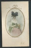 Jolie Femme Au Grand Chapeau.  Litho Dans Médaillon En Relief Doré. Meissner & Buch. Recto / Verso. - Illustrators & Photographers