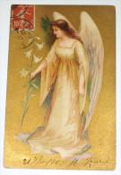 Ange Angel - Lys - Superbe Carte Postale Datée 1908 - Effet Chromo - Anges