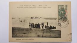 COTE D'IVOIRE Piroguiers Hesitant A Franchir La Barre Du GRAND LAHOU Afrique CPA Animee Postcard - Ivory Coast