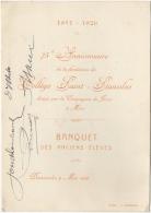 Menu. Mons. Collège Saint-Stanislas. 1851-1926. Banquet Des Anciens Elèves. - Menus