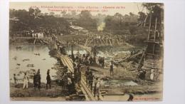 COTE D'IVOIRE Chemin De FER Travaux Du Pont Du N'ZI Kilom. 181 Afrique CPA Animee Postcard - Ivory Coast