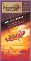 Marque-page °° Ô Contes D'ailleurs - Contes Du Québec - Dépl.2 Volets - Programme Intérieur - 10x20 - Bookmarks