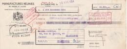 Lettre Change 16/11/1954 Manufactures Réunies De Tresses & Lacets ST CHAMOND Loire Pour St  Etienne - Lettres De Change