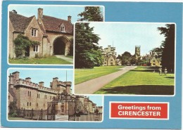 O381 Greetings From Cirencester - Norman Arch - Park Drive - Old Barracks / Viaggiata - Inghilterra