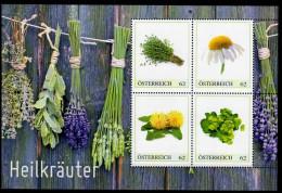 ÖSTERREICH 2013 ** Heilpflanzen - Thymian, Kamille, Löwenzahn, Frauenmantel - PM Personalized Bloc MNH - Pharmacie