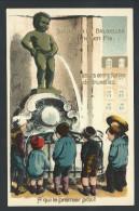 CPA - Carte Fantaisie - Souvenir De Bruxelles - MANNEKEN PIS - Relief - Embossed - Enfant - Guggenheim  11589  // - Bruxelles-ville