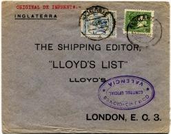 España 1936. Carta De Alicante A Londres. Censura. - Marcas De Censura Nacional