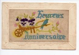 Anniversaire / Carte Brodée - Noms Sur La CP = Maillot De Hirson - 1926 - Verjaardag