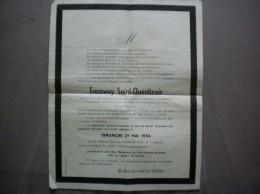 TRAMWAY SAINT-QUENTINOIS OBSEQUES OFFICIELLES LE 26 MAI 1956 FAIRE-PART - Historische Dokumente