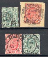 TRANSVAAL Used In NATAL (interprovincial Postmarks), 4 Stamps - Zuid-Afrika (...-1961)