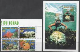 CHAD, 1996, MNH, GREENPEACE, CORALS, 4v+S/SHEET - Marine Life
