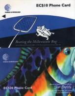 TELECARTES SAINTE LUCIE  EC $10/20 Poisson  Millennium Bug Fish (lot De 2) - Santa Lucía