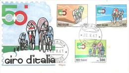 68206) FDC- 50º Giro Ciclistico D'Italia - 20 Maggio 1967 - Serie Completa - 6. 1946-.. Republic