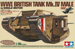 WWI BRITISH TANK Mk.IV MALE  ( SINGLE MOTOR  ) 1/35 ( Tamiya ) Motorized - Military Vehicles