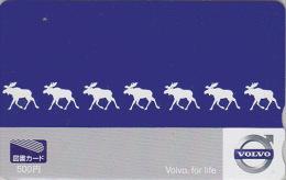 Carte Prépayée Japon - Animal - ELAN ORIGNAL PUB Voiture VOLVO - ELK Japan Prepaid Card - ELCH Tosho Karte -  Biche 102 - Ohne Zuordnung