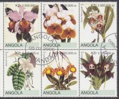 ANGOLA, 2000 ORCHIDS BLOCK 6 CTO - Angola