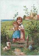 Chromo / Le Passage Du Gué Avec Enfant Et Panier //vers 1880       CHRO25 - Autres