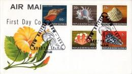 Papua New Guinea - 1968 Sea Shells FDC #1 (1968.08.28) # SG 140, 145-147, 149 - Vie Marine