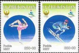 Uzbekistan, 2007, Mi. 710-11, Asian Winter Games In Changchun, Figure Skating, Skiing, MNH - Uzbekistan