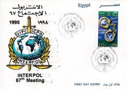 Egypt FDC 1998 Interpol  (G79-73) - Police - Gendarmerie