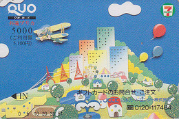 Carte Prépayée Japon - Jeu - Avion Biplan Canard & BALLON - Plane Duck & BALLOON Japan Prepaid Card - Quo 7-11 Karte 67 - Avions