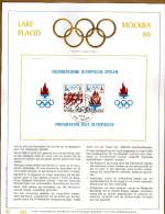 Feuillet D´art Tirage Limité 500 Exemplaires Frappe Or Fin 23 Carats Bloc 53 Olympische Spelen Moscou Lake Placid - Panes