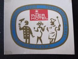 HOTEL CAMPING MOTEL PENSION INTERHOTEL SPA CSSR CZECH CHEKOSLOVAKIA LUGGAGE LABEL ETIQUETTE AUFKLEBER DECAL STICKER - Hotel Labels
