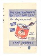 """BUVARD Avec Publicité Café Soluble """" CHAT NOIR """"  ! A été Recoupé - Kaffee & Tee"""