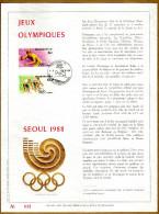 Feuillet D´art Tirage Limité 500 Exemplaires Frappe Or Fin 23 Carats 2285 à 2286 Jeux Olympiques Séoul Cyclisme Tennis - Panes