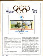 Feuillet D´art Tirage Limité 500 Exemplaires Frappe Or Fin 23 Carats Bloc 60 2121 2122 Jeux Olympiques Los Angeles - Panes