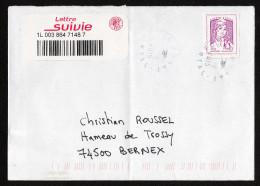 France 2015: Adhésif N° 1177A Obl Sur Lettre - B - 2013-... Marianne De Ciappa-Kawena