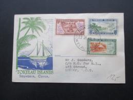 Tokelau Islands 1948 Souvenir Cover. FDC. Satzbrief. Nukunonu. 1st. Printing. Interessanter Beleg. Nach London - Tokelau